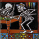Playing Billiard. Day-Of-The-Dead Clay Tile