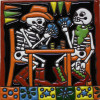Playing Cards. Day-Of-The-Dead Clay Tile