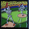 Base Ball. Day-Of-The-Dead Clay Tile