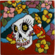 La Catrina Flowery Death. Day-Of-The-Dead Clay Tile