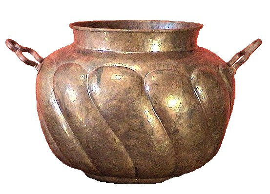 Two-Handles Twisted-Pronged Copper Pot