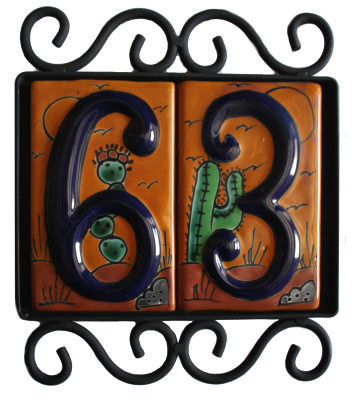 Wrought Iron House Number Frame Desert 2 Close-Up