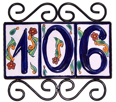 Wrought iron house number frame colonial 3 for House number frames