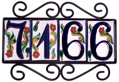 Wrought iron house number frame colonial 4 for House number frames