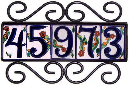 Wrought iron house number frame colonial 5 for House number frames