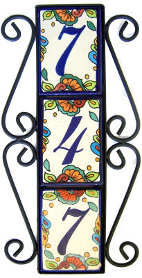 Wrought iron vertical house number frame hacienda 3 for House number frames