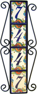Wrought iron vertical house number frame hacienda 4 for House number frames
