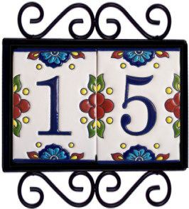 Wrought iron house number frame mission 2 for House number frames