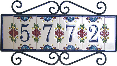 Wrought iron house number frame mission 5 for House number frames