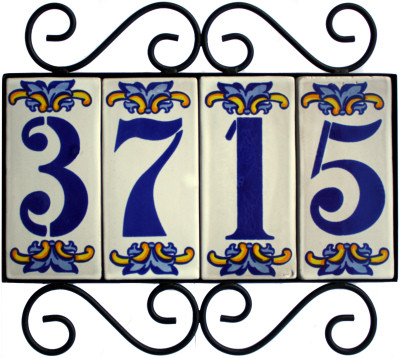 Wrought iron house number frame villa 4 for House number frames