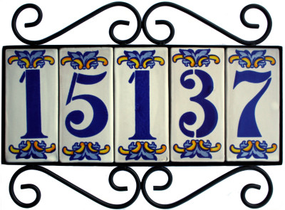 Wrought iron house number frame villa 5 for House number frames