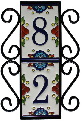 Wrought iron house number vertical frame mission 2 for House number frames