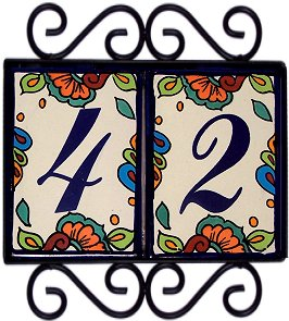 Wrought iron house number frame hacienda 2 for House number frames