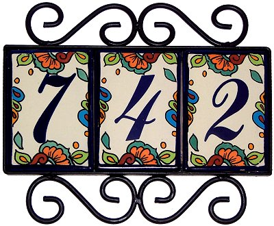 Wrought iron house number frame hacienda 3 for House number frames