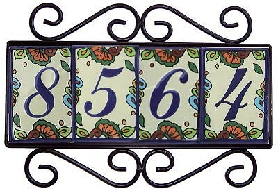Wrought iron house number frame hacienda 4 for House number frames