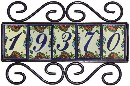 Wrought iron house number frame hacienda 5 for House number frames