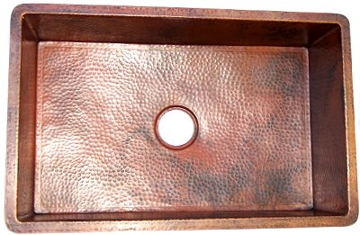 Hammered Flat Copper Kitchen Sink V