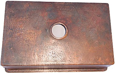 Hammered Flat Copper Kitchen Sink V Close-Up