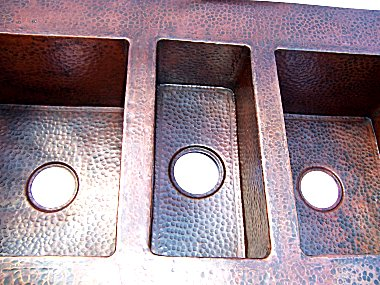 Triple Well Farmhouse Hammered Copper Sink Close-Up