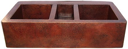 Triple Well Farmhouse Hammered Copper Sink Details