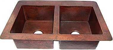 Double Same-Size-Bowl Hammered Copper Kitchen Sink Close-Up