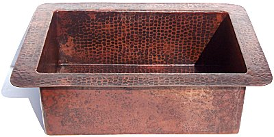 Hammered Flat Copper Kitchen Sink II Details