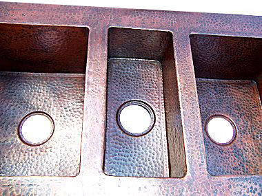 Triple Bowl Hammered Copper Kitchen Sink Details