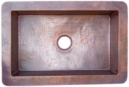 Flat Hammered Copper Kitchen Sink IV