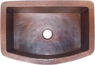 Farmhouse Rounded Hammered Kitchen Copper Sink