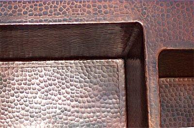 Kitchen Sink Copper on Double Bowl Undermount Hammered Copper Kitchen Sink   220222 9