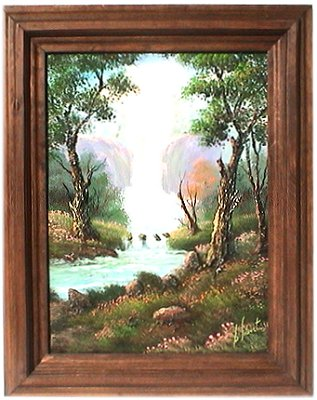 Waterfall. Mexican Oil Painting