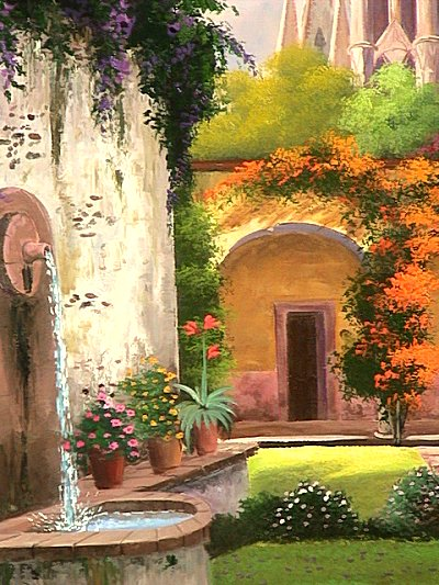 Patio Fountain. Mexican Contemporary Oil Painting Close Up