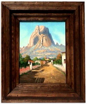 Street/Bernal Rock, Qro. Mexican Oil Painting