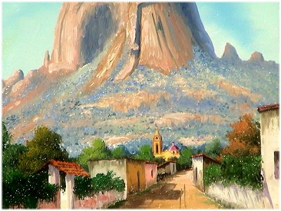 Street/Bernal Rock, Qro. Mexican Oil Painting Close-Up