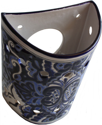 Mexican Pottery Wall Sconces : Blue Talavera Ceramic Sconce