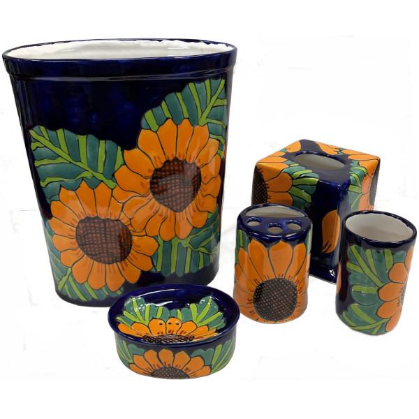 Sunflower Talavera Ceramic Bathroom Set