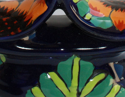 Sunflower Talavera Candle Holder Close-Up