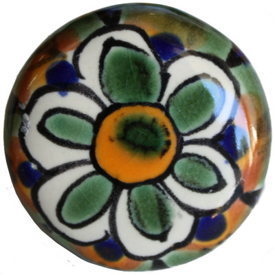 Round Peacock Talavera Ceramic Drawer Knob