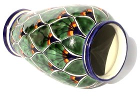 Peacock Mermaid Talavera Flower Vase Details