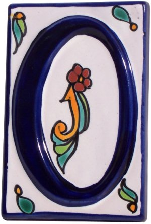 Colonial Talavera Ceramic House Number Zero