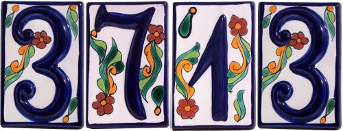 Colonial Talavera Ceramic House Number Two Details