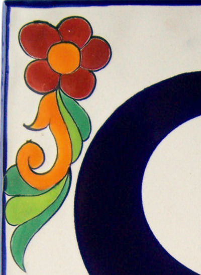Big Talavera Ceramic Building Number Eight Close-Up