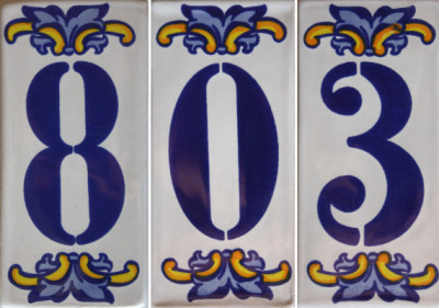 Villa Mexican Tile House Number Eight Close-Up