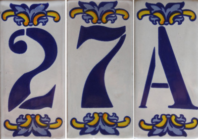Villa mexican tile house letter a for Ceramic tile numbers and letters