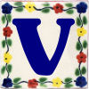 Bouquet Talavera Clay House Letter V