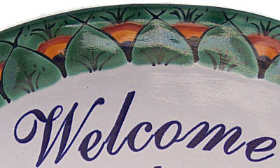Peacock Talavera Ceramic House Plaque. Welcome my house is your house Close-Up