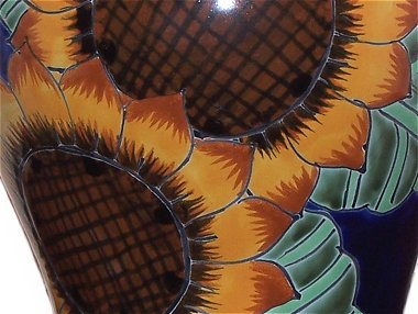 Sunflower Talavera Ceramic Lamp Close-Up