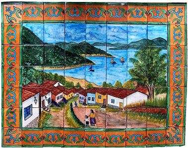 Patzcuaro lake clay talavera tile mural for Arts and crafts mural