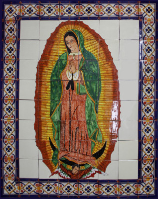 Our Lady Virgen De Guadalupe. Clay Talavera Tile Mural
