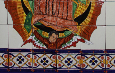 Our Lady Virgen De Guadalupe. Clay Talavera Tile Mural Close-Up